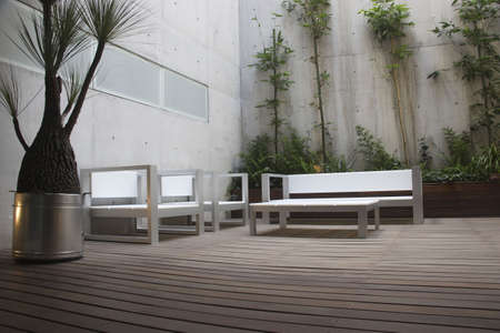 forniture: modern patio in a mexican apartment in Mexico City Stock Photo