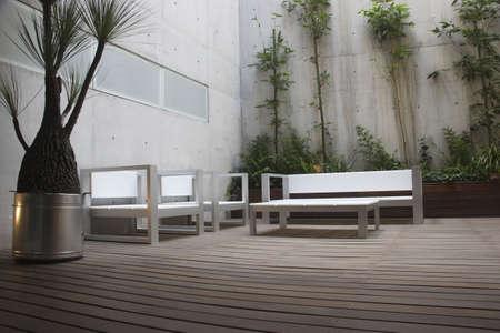 forniture: moderna en un patio mexicano apartamento en Ciudad de Mexico