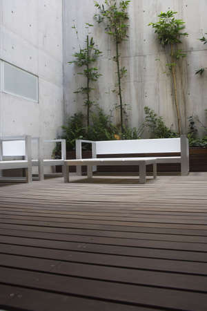 forniture: patio detail in a modern apartment in Mexico City Stock Photo