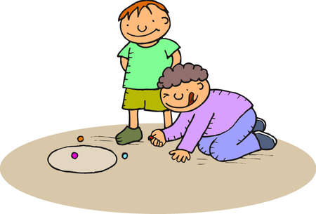 toddler playing: boys playing with marbles at the park Stock Photo
