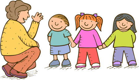 clip art draw: children and adult talking about something
