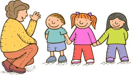 los niños y los adultos hablando de algo Foto de archivo - 3550655