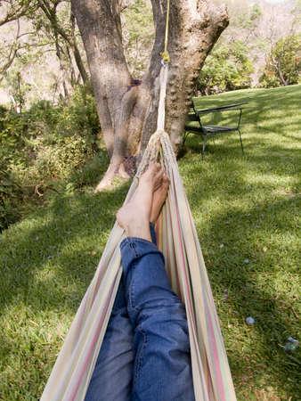 vacancier: chillout dans un hamac super au milieu de la nature