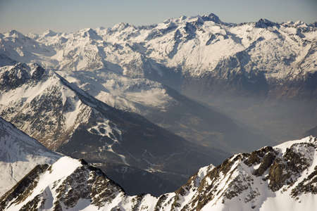 du ร    ก ร: View of Pyrenees from Pic du Midi (2877m),  Stock Photo