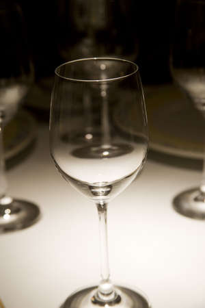 refinement: wine glass detail in an elegant dinner Stock Photo