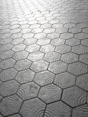Escofet pavement with marine motifs dessigned by Gaudi, nowadays covers the sidewalks of the Passeig de Gracia avenue. Barcelona. Spain
