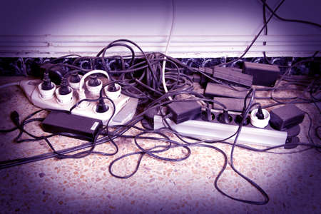 computer cable clutter at home Stock Photo - 7262569