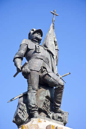 conquest: Statue of Hernan Cortes in Medellin, Spain Stock Photo