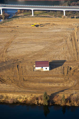 nothing: house surrounded by nothing in the field