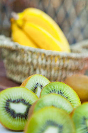 dinnertime: kiwis from New Zealand and bananas from Africa
