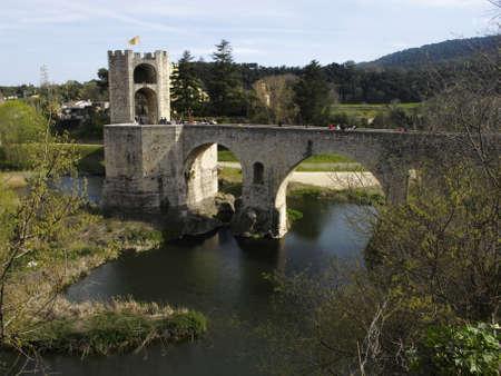 patrimony: View of the medieval bridge of Besalu, Catalonia, Spain