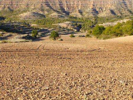 navarra: Natural landscape in the biosphere reserve Bardenas, Navarra, Spain Stock Photo