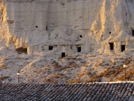 navarra: Old houses in caves in the mountains of the Biosphere Reserve Bardenas in Navarra, Spain