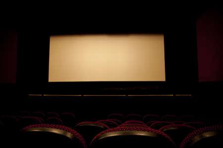 teleconferencing: A cinema screen Stock Photo
