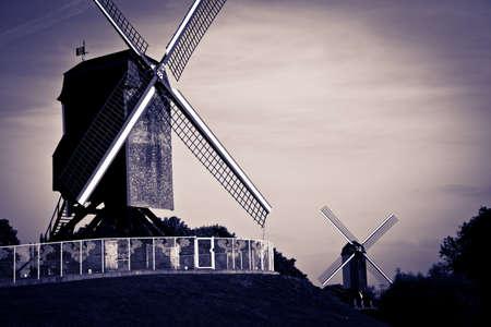 flanders: Old windmills in Bruges, Flanders, Belgium