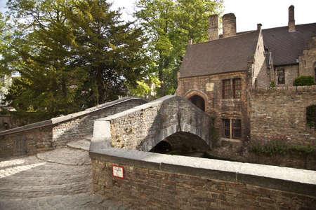 world village: Medieval bridge in Bruges, Flanders, Belgium