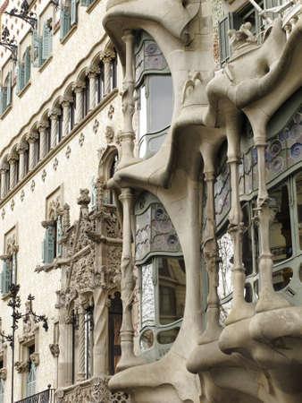paseo: Casa Batllo by Antoni Gaudi, Paseo de Gracia Avenue, Barcelona, Spain