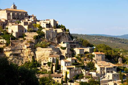 gordes: Panoramic of Gordes, Vaucluse, Provence, France Stock Photo