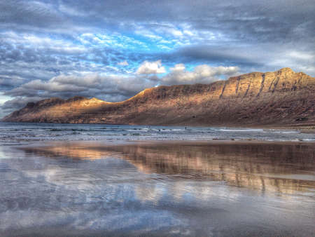 lanzarote: Famara beach Lanzarote Canary Islands Spain Stock Photo