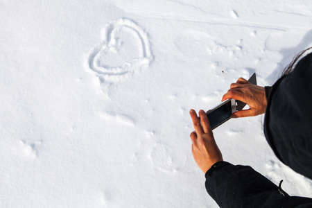 love sign in the Alps, Tyrol, Austria, Europe Stock Photo