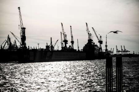dockyard: Harbor of Hamburg in Germany, Europe