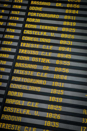 exits: Time-table of exits and train arriving at the station of the Italian city of Venice