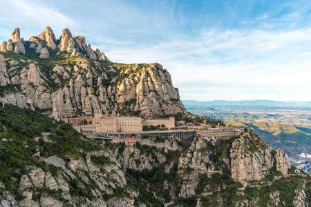Santa Maria de Montserrat monastery. Monastery on mountain near Barcelona, in Catalonia 스톡 콘텐츠