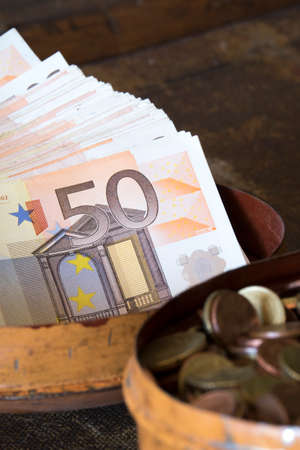 european currency: 50 euros and coins. European currency