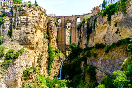 Panoramic view of El Tajo and Puente Nuevo bridge  in Ronda, Andalusia, Spain