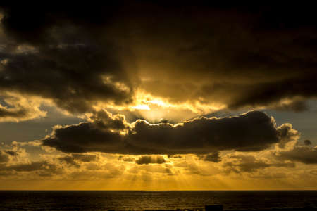 canary islands: Sunrise in Lanzarote, Canary Islands, Spain Stock Photo