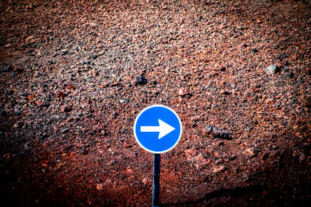 Traffic sign in the volcanic region of Lanzarote in Canary Islands, Spain Stock Photo