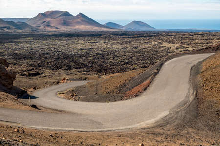 timanfaya natural park: Timanfaya volcanic area in Lanzarote, Canary Islands, Spain Stock Photo