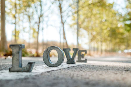 metal letters: message of love with metal letters Stock Photo