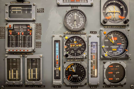 Vintage airplane panel controls detail Stock Photo