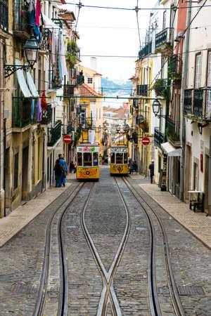 elevador: Lisbon, Portugal - April 14, 2014:  Elevador da Bica, Lisbon, Portugal Europe Editorial