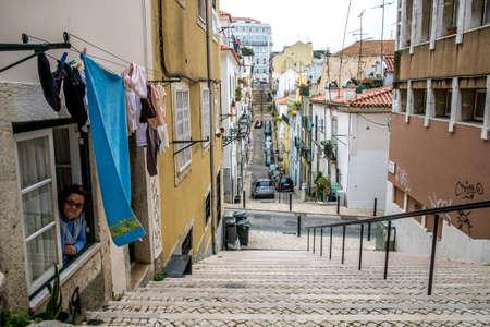 bairro: Lisbon, Portugal - April 14, 2014: Street in Bairro Alto in Lisbon Portugal Europe Editorial