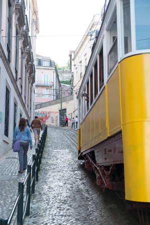 gloria: Lisbon, Portugal - April 16, 2014: Elevador da Gloria, famous funicular in Lisbon, Portugal Editorial
