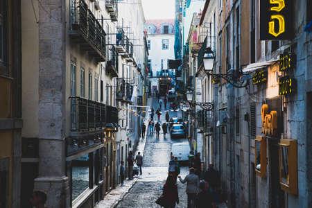 bairro: Lisbon, Portugal - April 16, 2014: Street scene in Bairro Alto district in Lisbon Portugal Editorial