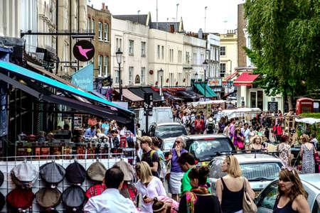 portobello: London, England - August 1, 2014: vintage market in Portobello Road in Notting Hill in London Editorial