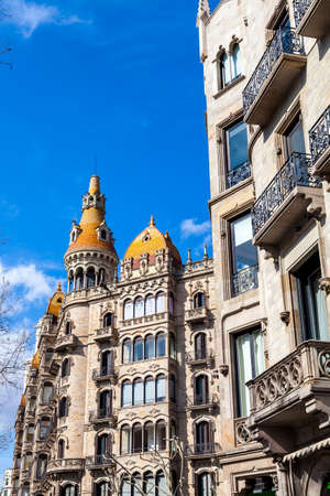Barcelona, Spain - March 8, 2012: Casas Roca Mora by Puig i Cadafalch arquitect, modernismo architecture in Paseo de Gracia Avenue