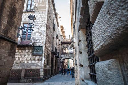 carrer: Barcelona, Spain - February 12, 2012: Carrer del Bisbe in Gothic quartier