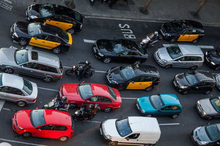 metropolis image: Barcelona, Spain - February 16, 2012: traffic aroung Sants district in the capital of Catalonia