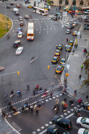 city traffic: Barcelona, Spain - February 16, 2012: traffic aroung Sants district in the capital of Catalonia