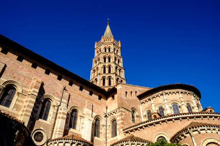 St. Sernin Basilica, It was built in the Romanesque style between about 1080 and 1120, Toulouse, France. The view of bell tower and apse.