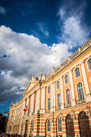 Toulouse, France - September 15, 2016: Facade of the Capitol, the City Hall of Toulouse