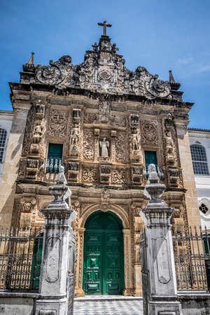 Ornamented gate of the Bonfirm church in the Pelourinho, UNESCO World Heritage Site, Salvador da Bahia, Bahia, Brazil