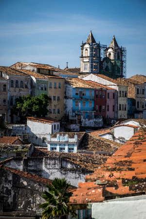 Colonial architecture in the Pelourinho, UNESCO World Heritage Site, Salvador da Bahia, Bahia, Brazil, South America Stock Photo