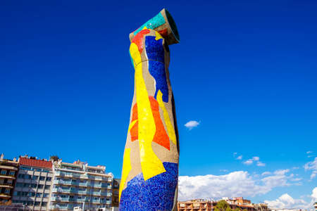 Barcelona, Spain - February 14, 2016: Sculpture Woman and Bird (Dona i Ocell, in catalan), created by Joan Miro in Joan Miro square