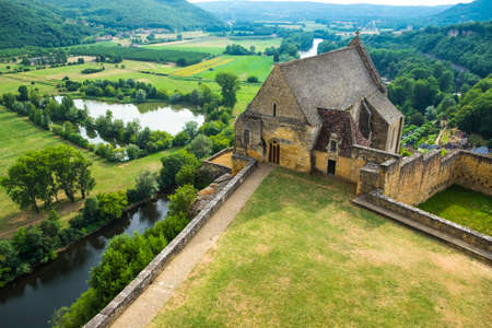 Beynac, France - July 20, 2016: Partial view of Beynac Castle and Dordogne valley in France Editorial