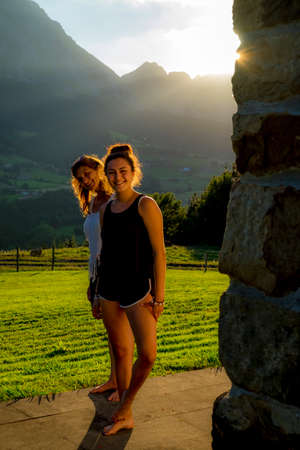 vacationer: Mother and daughter on a summer time in Basque Country Spain Europe Stock Photo